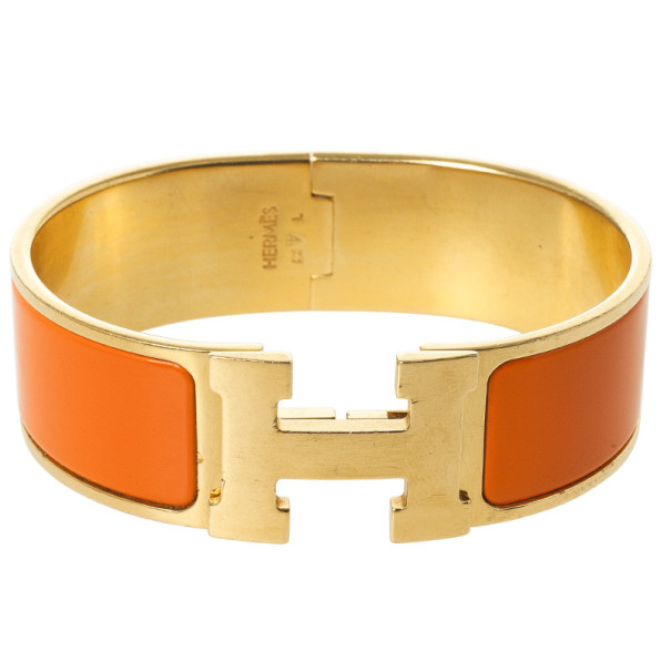 Hermes Clic H Orange Enamel Gold Plated Bracelet 19 CM