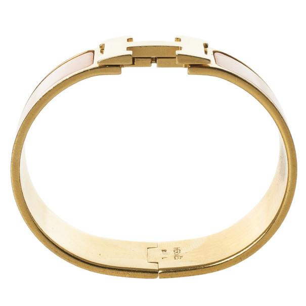 Hermes Clic H Orange Enamel Gold Plated Bracelet 19 CM