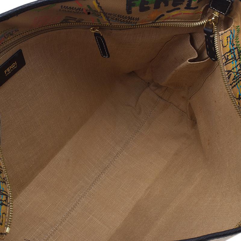Fendi Graffiti Multicolor Roll Tote Shopper Bag