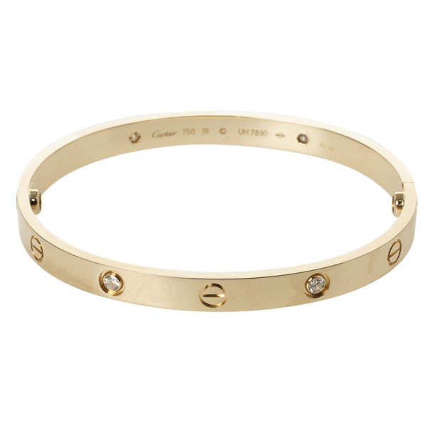 Cartier 4 Diamonds Yellow Gold Love Bracelet 19 CM