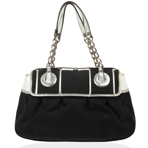 Fendi Black and Silver Canvas B Bag