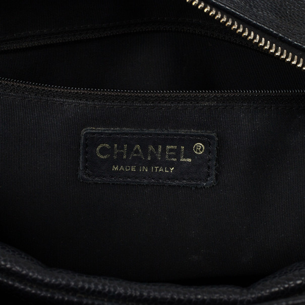 Chanel Black Quilted Caviar Leather Petite Tote Bag