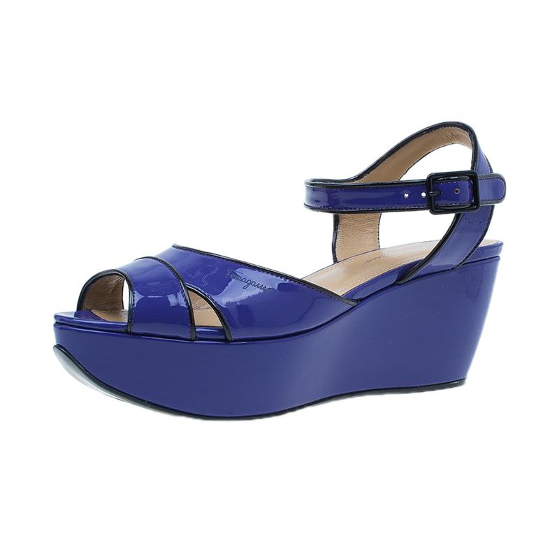 Salvatore Ferragamo Blue Leather Ankle Strap Wedges Size 36