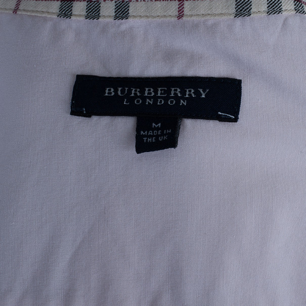Burberry Pink Novacheck Contrast Button Down Shirt M