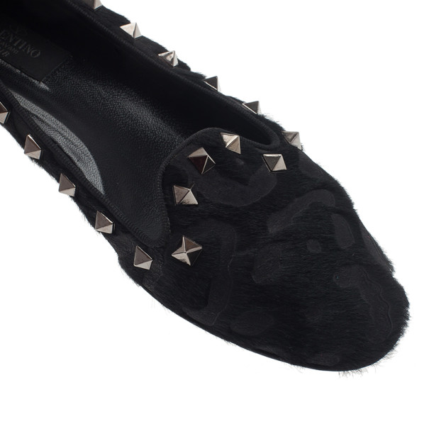 Valentino Black Pony Hair and Leather Rockstud Smoking Slippers Size 37.5