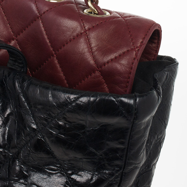 Chanel Black Glazed Distressed Leather Burgundy Lambskin Portobello Large Tote Bag