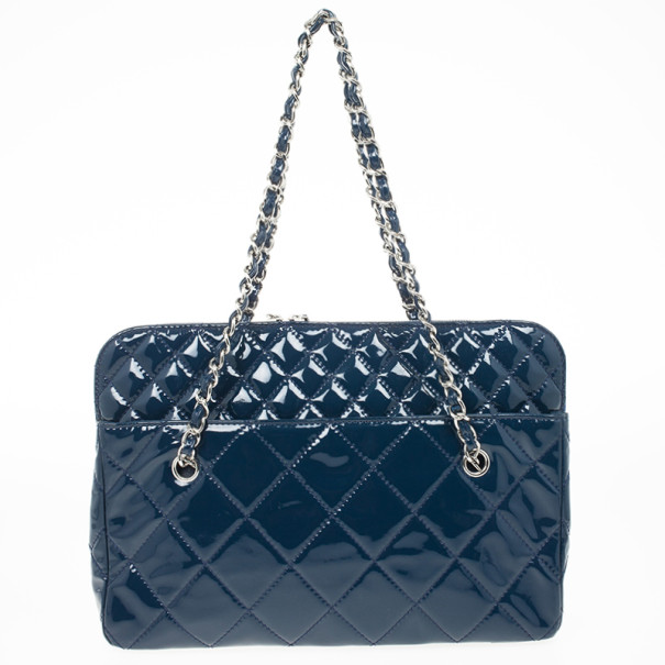 Chanel Vintage Large Blue Quilted Tote Bag