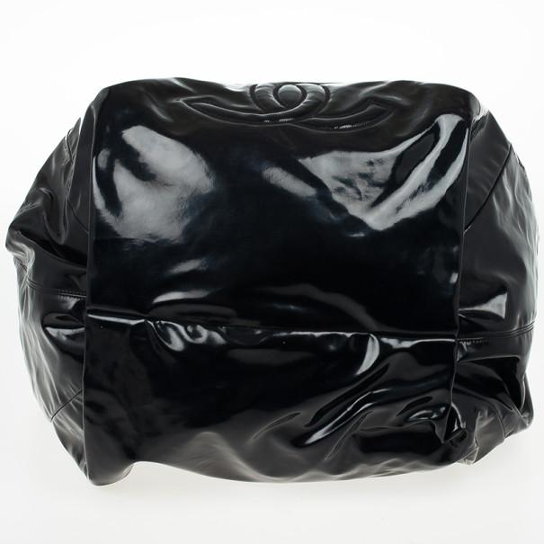 Chanel Black Patent Stretch Spirit XL Cabas Hobo