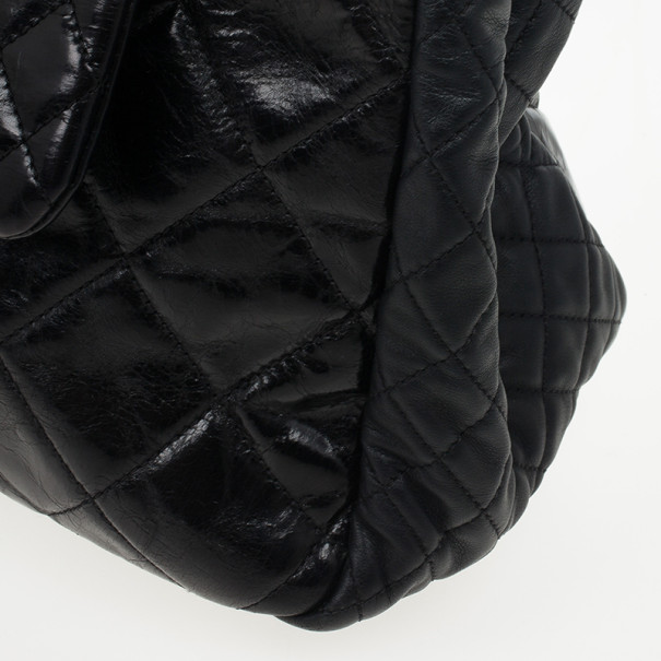 Chanel Black Distressed Quilted Lambskin Hobo
