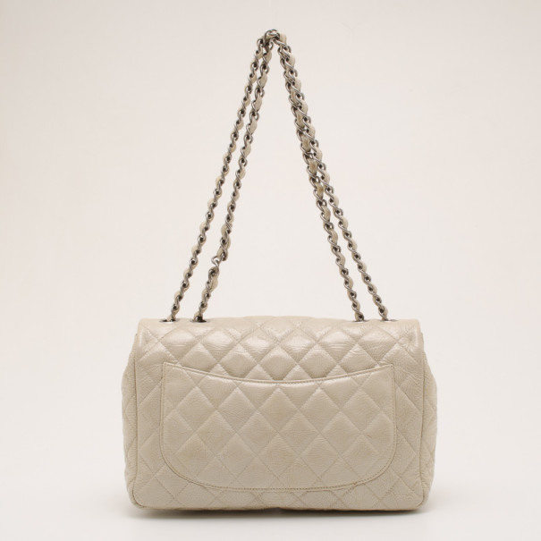 Chanel Beige Quilted 'Crackled' Leather Flap Bag