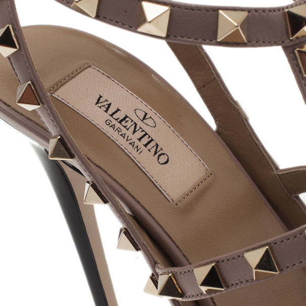 Valentino Black and Beige Patent Rockstud Sandals Size 37.5