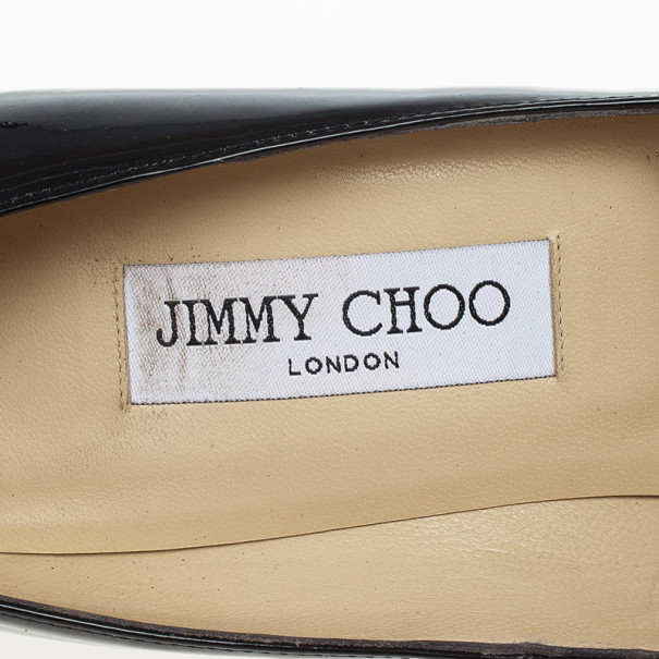 Jimmy Choo Black Patent Anouk Pointed Toe Pumps Size 39.5