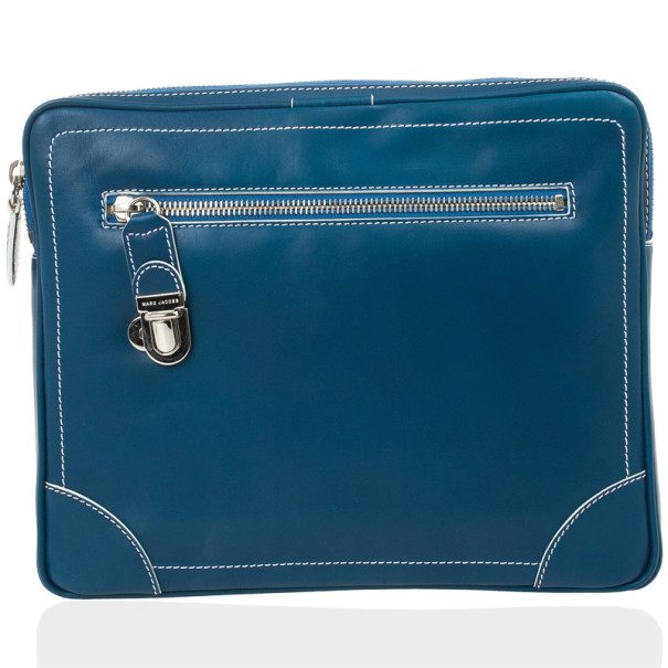 Marc Jacobs Venetia Matte Blue Leather White Stiching iPad Case