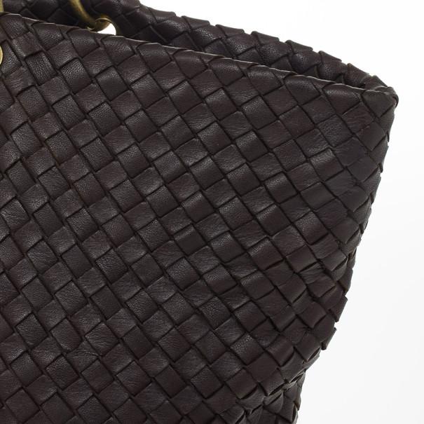 Bottega Veneta Brown Leather Woven Leather Large Capri Tote