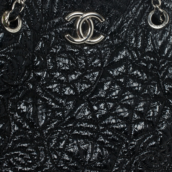 Chanel Black Patent Quilted CC XL Hobo