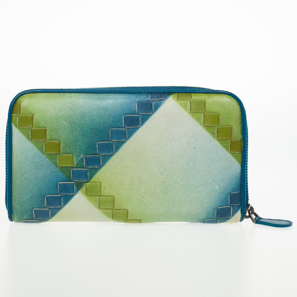 Bottega Veneta Blue Green Leather Intrecciato Nappa Wallet