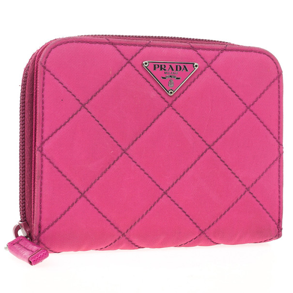 Prada Pink Quilted Nylon Wallet