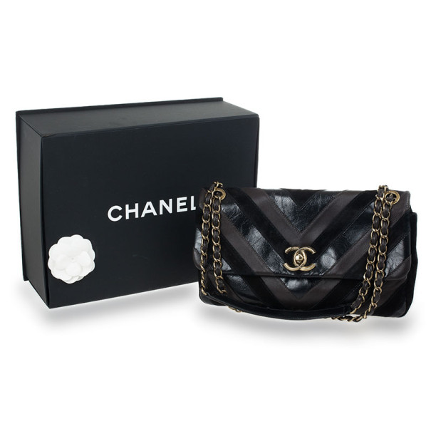 Chanel Black Chevron Suede and Leather Flap Bag