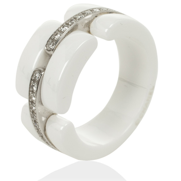 chanel diamonds 18 k white gold ceramic ultra ring size