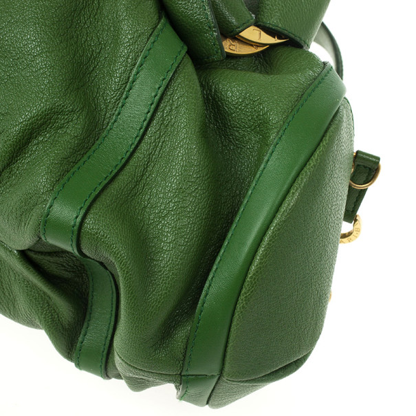Bvlgari Green Leather Polly Bag