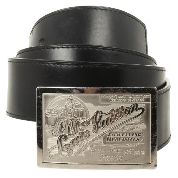 Louis Vuitton Black Jeans Calf Leather Belt 95 CM