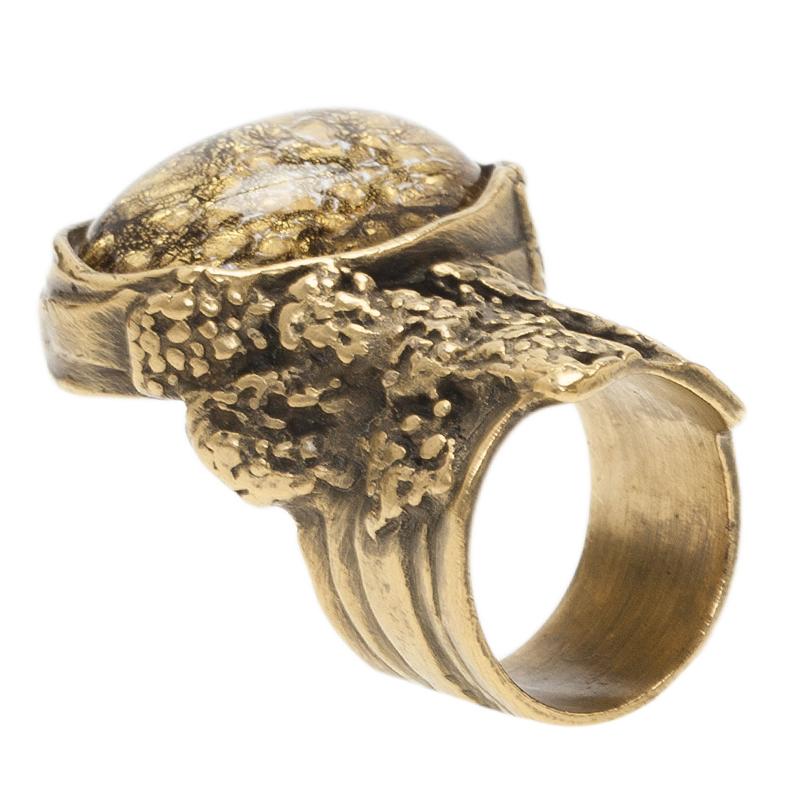 Saint Laurent Paris Arty Gold Gold Tone Ring Size 54.5