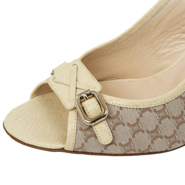 Celine Cream Monogram Sandals Size 38.5