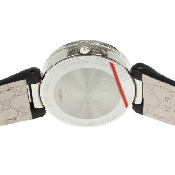 Gucci Interlocking Black Leather Womens Watch 29 MM