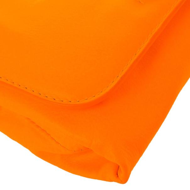 Marc by Marc Jacobs Katie Neon Orange Leather Clutch