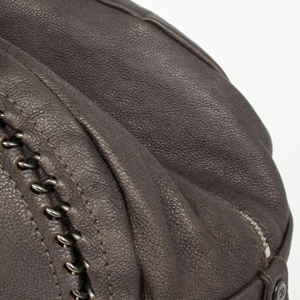 Chanel Luxe Ligne Beige Leather Chain Trim Bowler Boston Duffle Bag