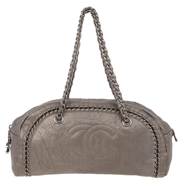 Chanel Luxe Ligne Beige Leather Chain Trim Bowler Boston Duffle Bag