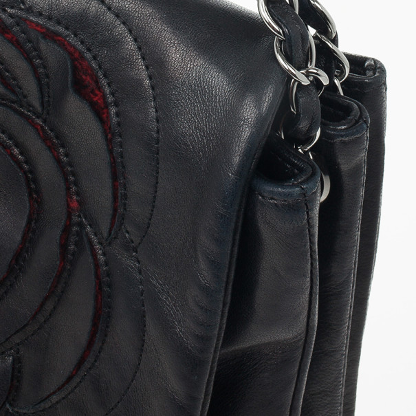 Chanel Black Lambskin Camelia Flap Special Edition Runway Bag