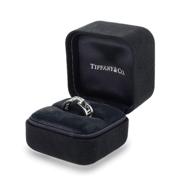 Tiffany & Co. 18K White Gold Diamond Atlas Open Ring Size 61