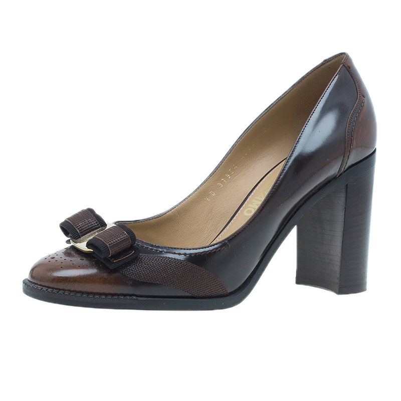 Salvatore Ferragamo Brown Leather Naffy Block Heel Pumps Size 42