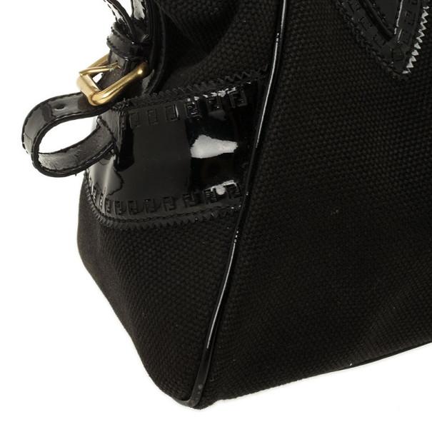 Fendi Black Canvas Studded Small Bag Du Jour Tote