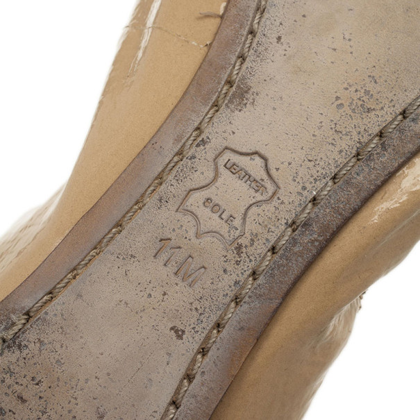 Tory Burch Nude Patent Caroline Ballet Flats Size 41.5
