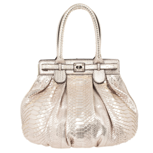 Zagliani Metallic Python Puffy Handbag