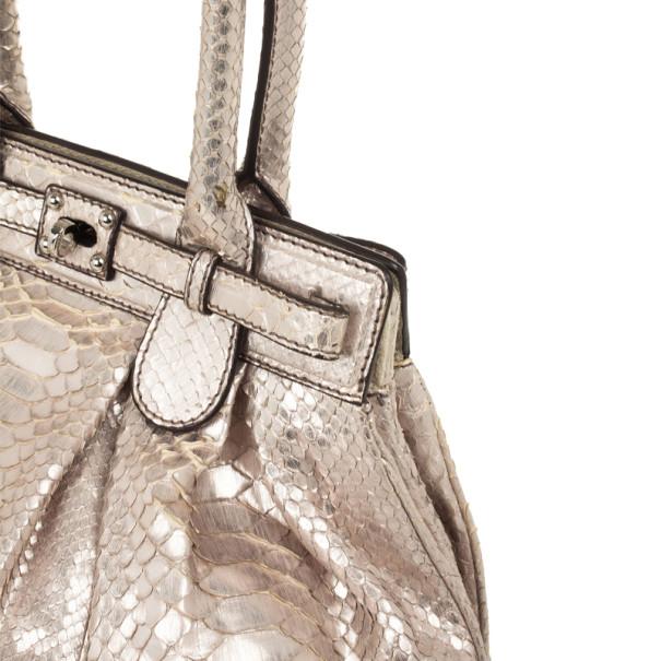 Zagliani Metallic Python Puffy Handbag