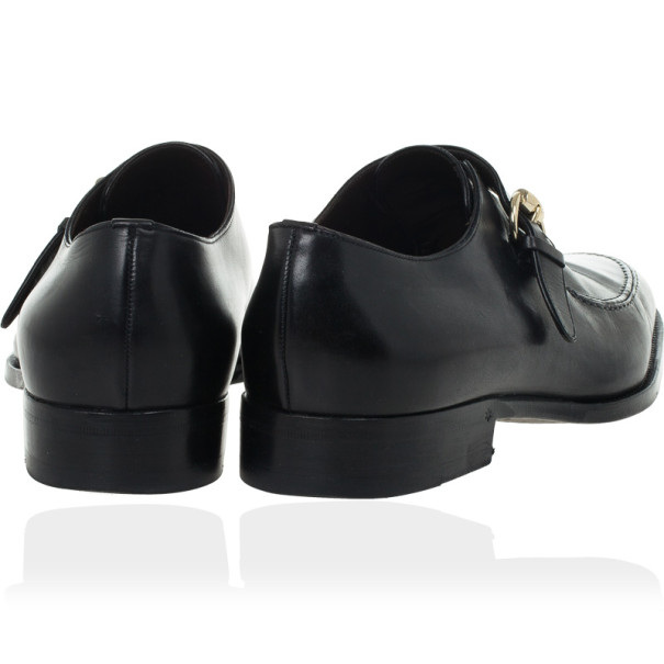 Gucci Black Leather Monk Strap Loafers Size 41