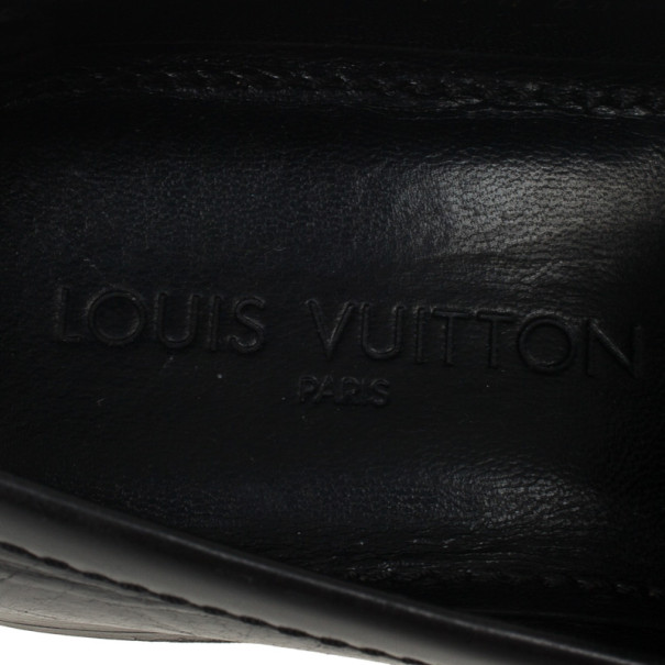 Louis Vuitton Damier Embossed Black Leather Loafers Size 41