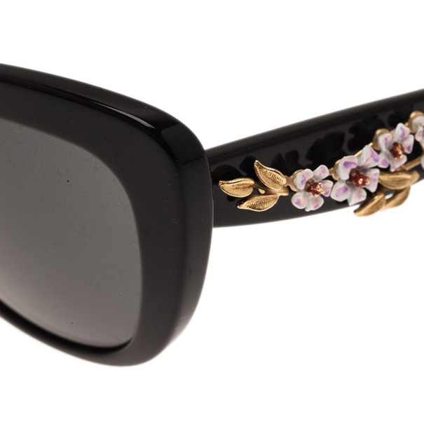 Dolce and Gabbana Black Almond Flower Cat-Eye Sunglasses