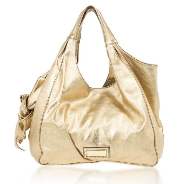 Valentino Metallic Gold Nuage Bow Tote
