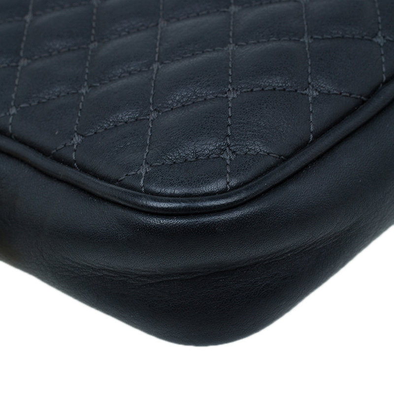 Dolce and Gabbana Black Quilted Leather Glam Crossbody Bag