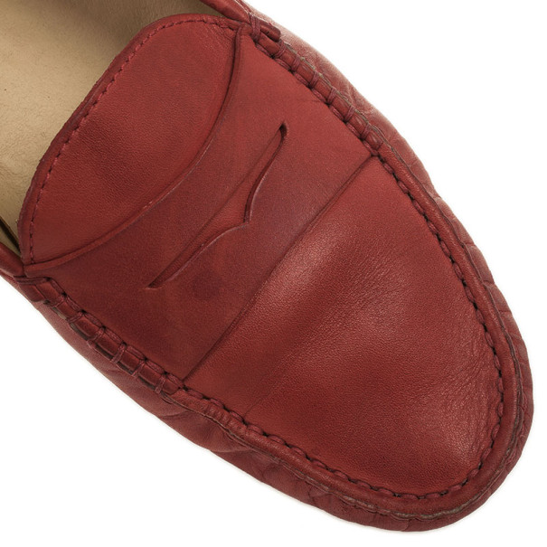 Tod's For Ferrari Red Leather Loafers Size 38.5