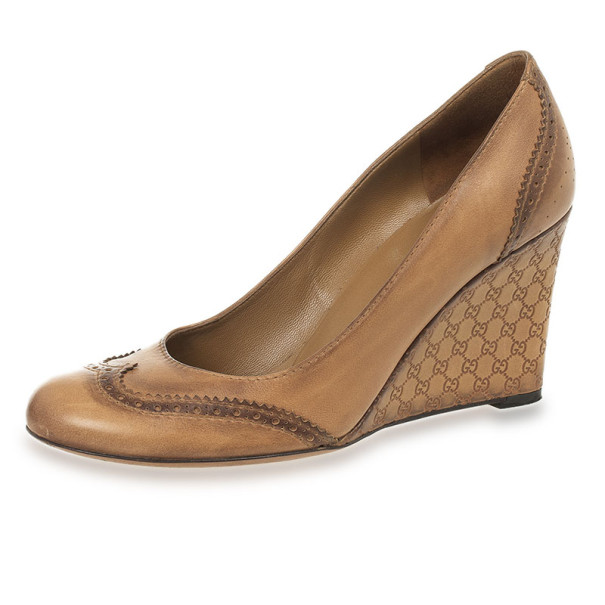 Gucci Tan Leather Johanna GG Wedges Size 38.5