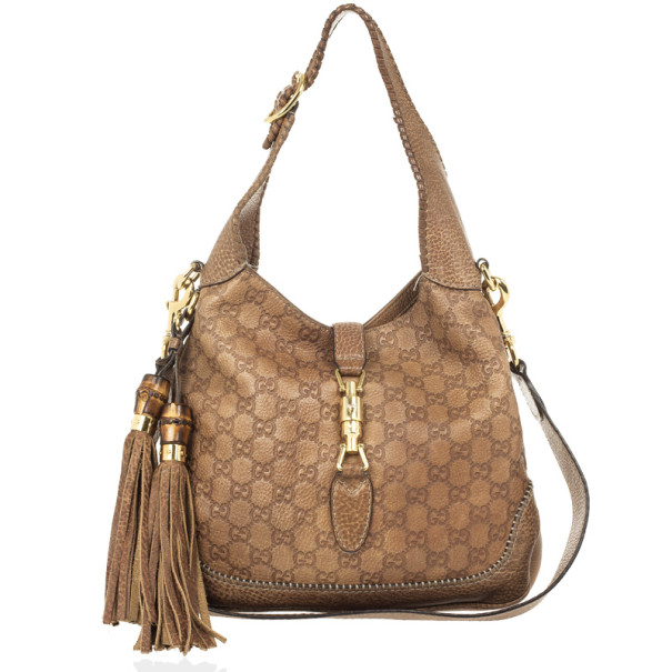 Gucci Tan Guccissima Leather New Jackie Medium Shoulder Bag