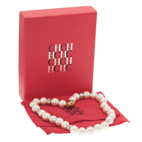 Carolina Herrera CH Round Faux Pearl Crystal Necklace