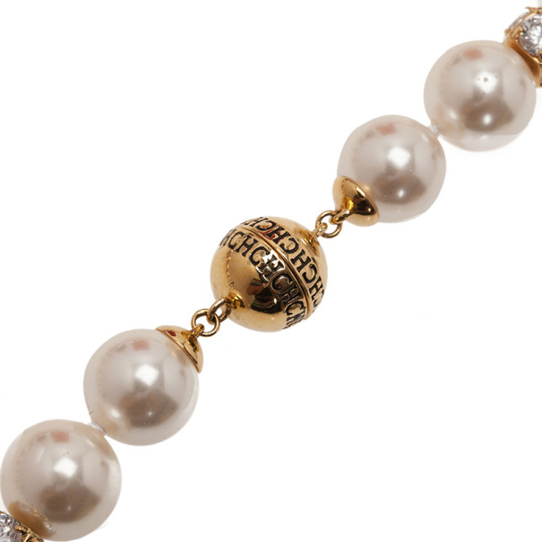 Carolina Herrera CH Round Faux Pearl Crystal Necklace