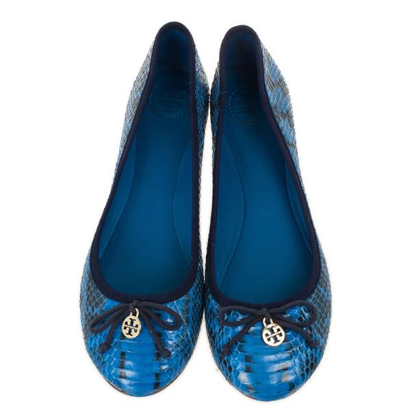 Tory Burch Blue Snakeskin Chelsea Ballet Flats Size 40