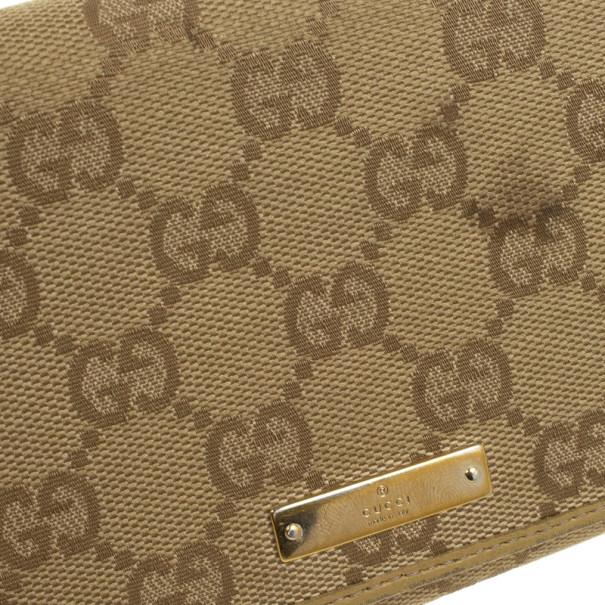 Gucci Beige Monogram Continental Wallet